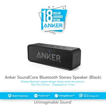 SKU : A3102H11 Anker SoundCore Bluetooth Speaker with 24-Hour Playtime, 66-Foot Bluetooth Range & Built-in Mic, Dual-Driver Portable Wireless Speaker with Low Harmonic Distortion and Superior Sound - Black