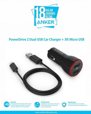 Anker PowerDrive 2 Dual USB Car Charger + 3ft Micro USB [B2310H11]