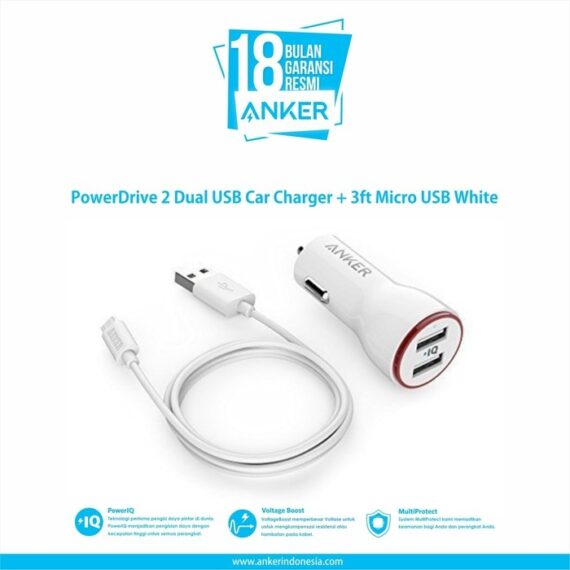 Anker PowerDrive 2 Dual USB Car Charger + 3ft Micro USB [B2310H21]