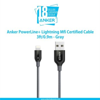 Anker PowerLine+ Lightning Mfi Certified Cable 3ft/0.9m - Gray [A8121HA1]