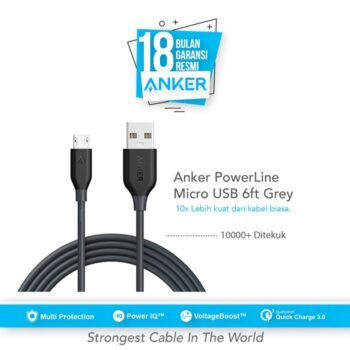 Anker PowerLine Micro USB Cable 6ft/1.8m - Gray [A8133H11]