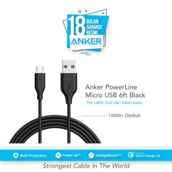 Anker PowerLine Micro USB Cable 6ft/1.8m - Black [A8133H12]