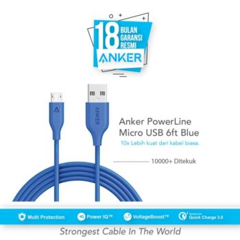 Anker PowerLine Micro USB Cable 6ft/1.8 - Blue [A8133H31]