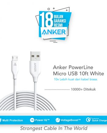 Anker PowerLine Micro USB Cable 10ft/3m - White [A8134H21]