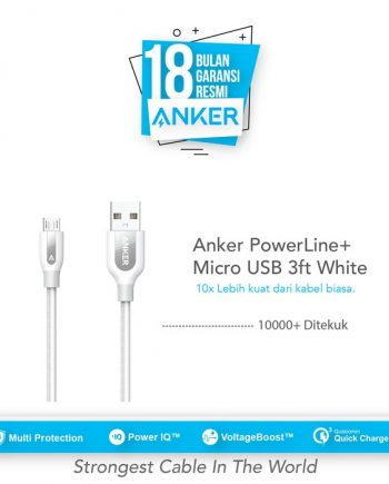 Anker PowerLine+ Micro USB Cable 3ft/0.9m - White [A8142H21]