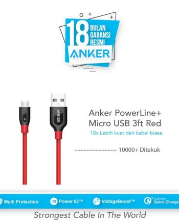 Anker PowerLine+ Micro USB Cable 3ft/0.9m - Red [A8142H91]