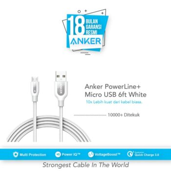 Anker PowerLine+ Micro USB Cable 6ft/1.8m - White [A8143021]