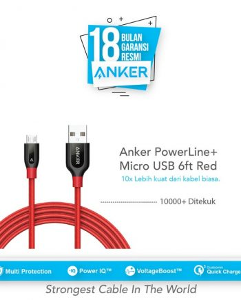 Anker PowerLine+ Micro USB Cable 6ft/1.8m - Red [A8143H91]