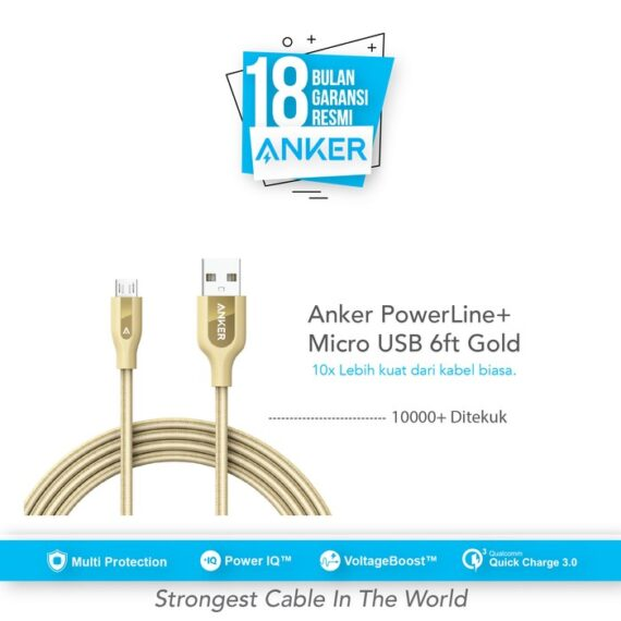 Anker PowerLine+ Micro USB Cable 6ft/1.8m - Gold [A81430B1]