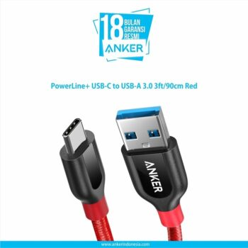 Anker PowerLine+ USB-C to USB-A 3.0 3ft/90cm Red [A8168H91]